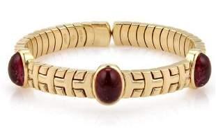 Bvlgari 12ct Pink Tourmaline 18k Gold Bracelet