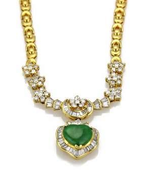 Estate 2ct Diamond Heart Jade 18k Gold Necklace