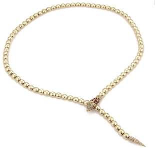 Diamond Ruby Snake 18k Gold Bead Lariat Necklace