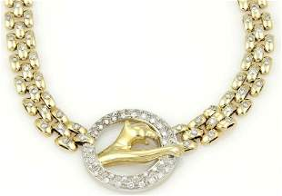 18k Two Tone Gold 250ct Diamond Panther Necklace