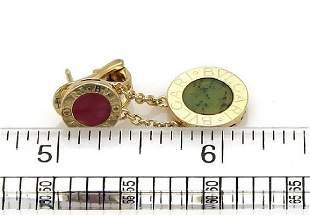 Bvlgari Coral Jade 18k Gold Disc Dangle Earrings