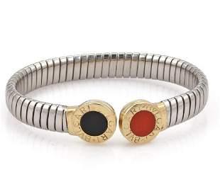 Bvlgari 18k Gold Steel Coral Onyx Tubogas Bracelet