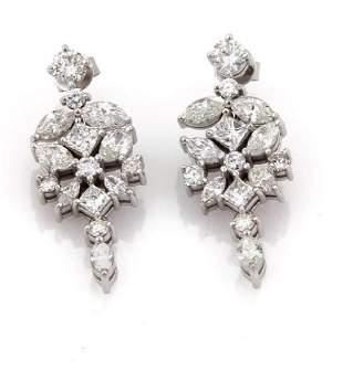 Diamond 14k White Gold Floral Drop Dangle Earrings