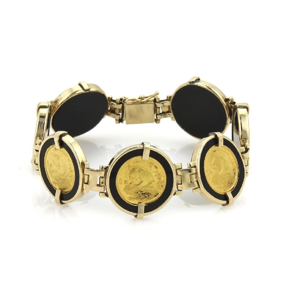 24k Gold Panda Coin Onyx 14k Round Link Bracelet - Feb 09