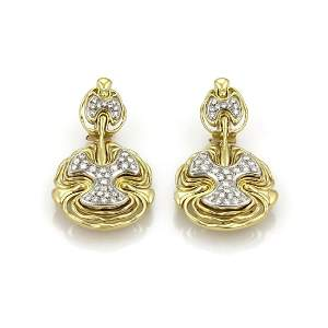 H.Stern 2.00ct Diamond 18k Two Tone Gold Earrings