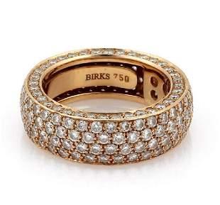 Birks 3 Carats Diamond 18k Pink Gold 7mm Wide Band
