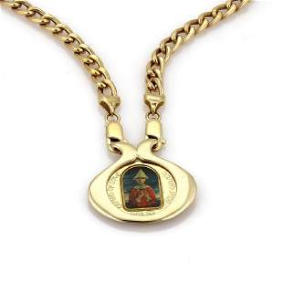Marc Chagall Porcelain 14k Gold Coin Pendant Chain