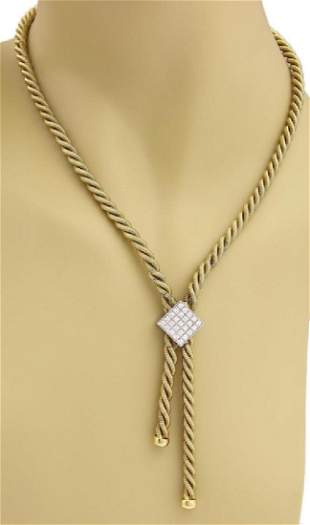 18k Gold 120ct Diamond Snake Tassel Necklace