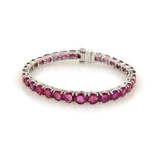 165ct Ruby Platinum Graduated Tennis Bracelet