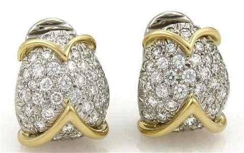 Tiffany & Co. Diamond Platinum 18k Gold Earrings