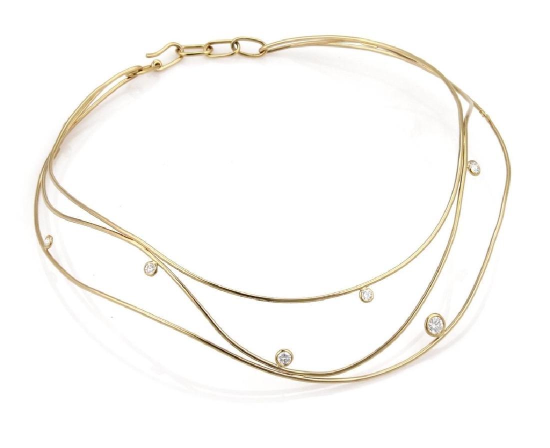 Tiffany & Co. Peretti Wave Diamond 18k Necklace - 2