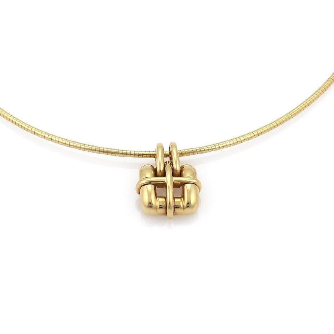 Tiffany & Co 18k Gold Pendant Snake Cable Necklace