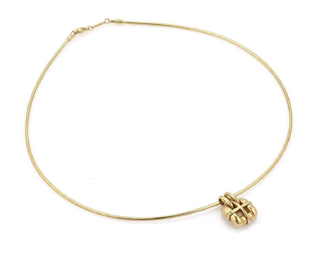 Tiffany & Co 18k Gold Pendant Snake Cable Necklace - 3