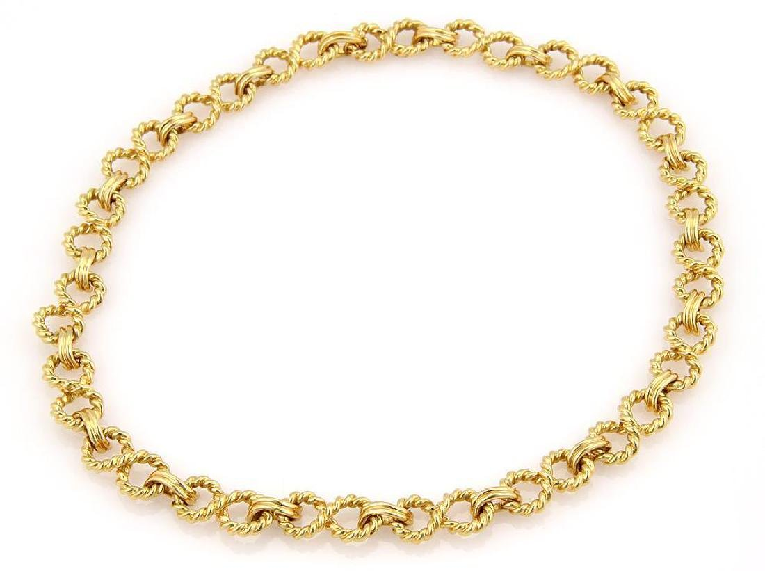 Tiffany & Co. 18k Gold Infinity Wire Link Necklace - 2