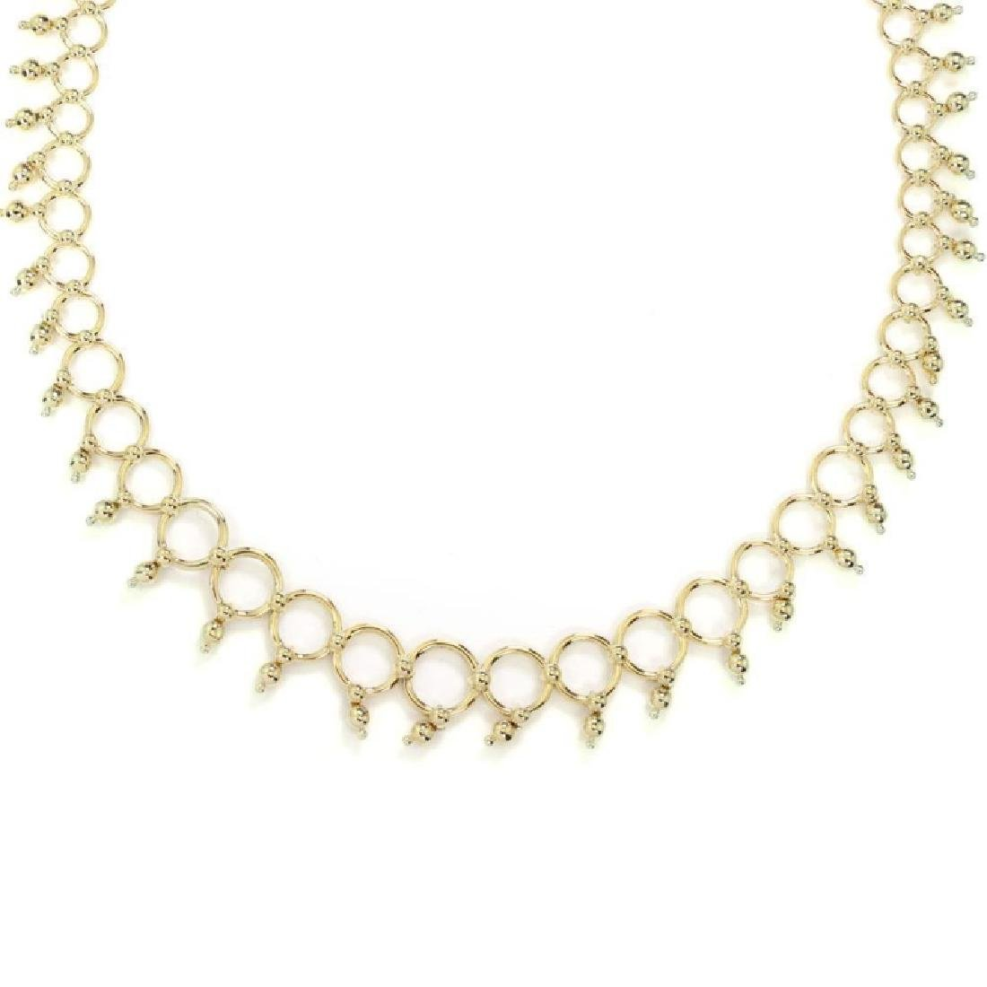 Tiffany & Co. 18k Gold Circle Bead Link Necklace