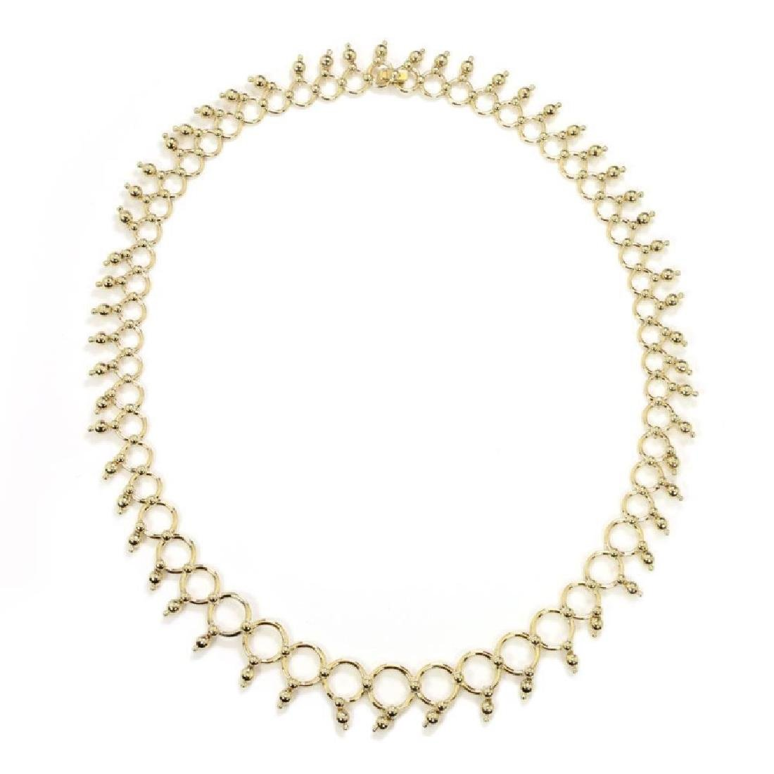 Tiffany & Co. 18k Gold Circle Bead Link Necklace - 2