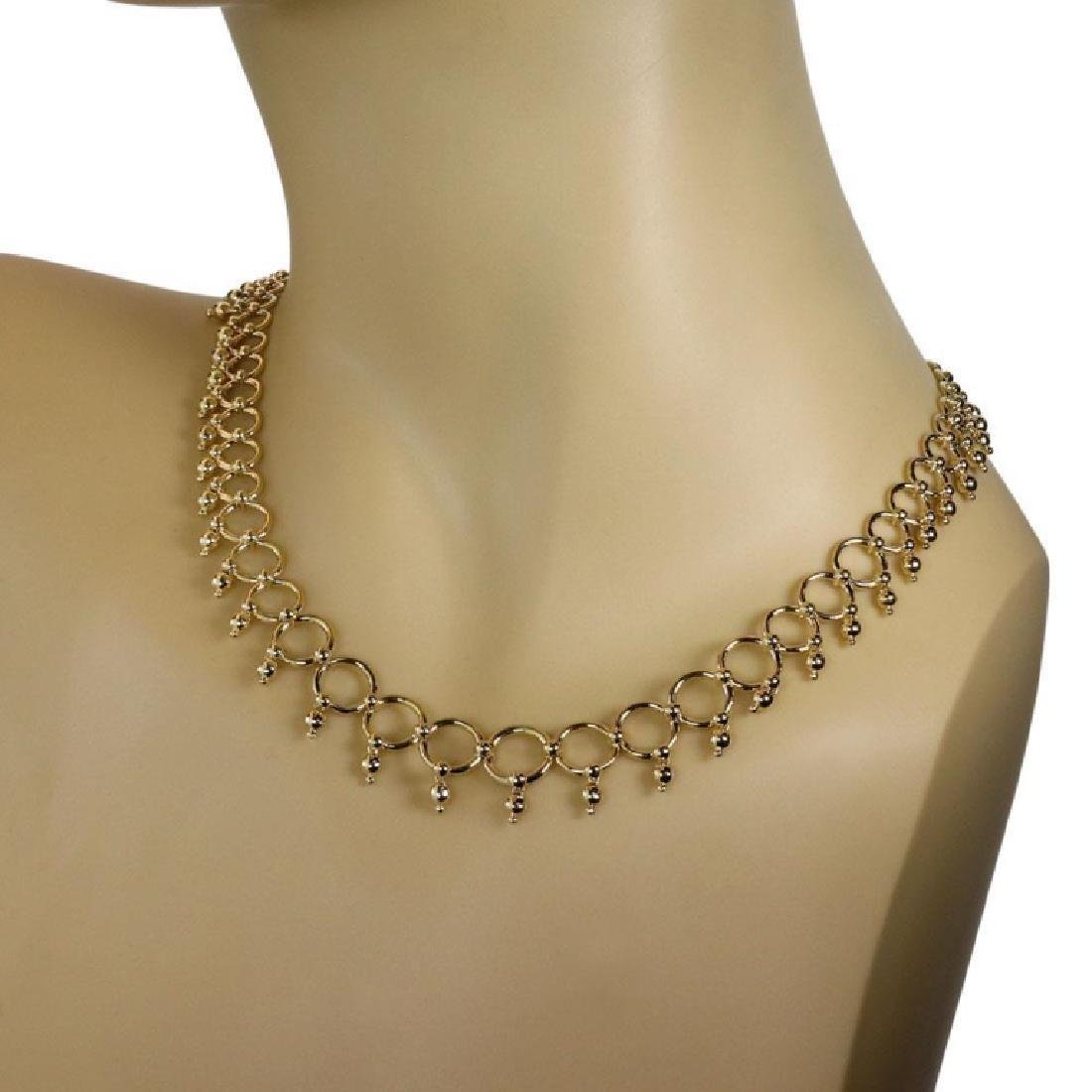 Tiffany & Co. 18k Gold Circle Bead Link Necklace - 4