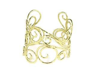 Sal Praschnik 18k YGold Wide Cuff Bracelet