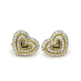 Harpo 1 Carat Diamond 18k Two Tone Gold Earrings
