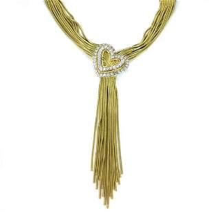 Harpo 3Carat Diamond 18k Heart Tassel Necklace