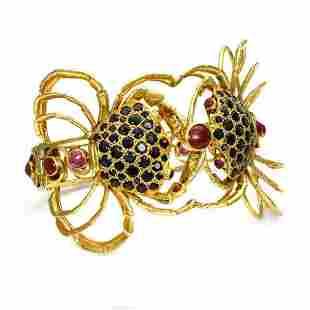 Estate 8 Carats Ruby Sapphire 18k Cuff Bracelet