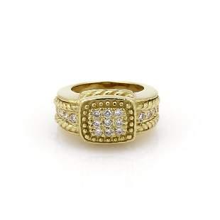 Judith Ripka Diamond 18k Bead Design Ring Size 55