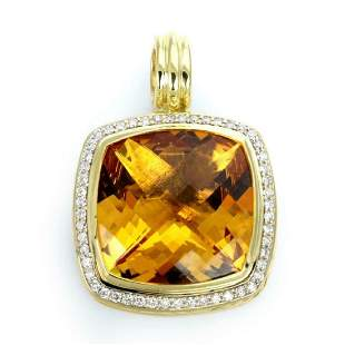 David Yurman Albion Citrine Diamond 18k Pendant