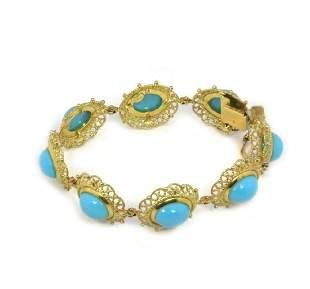 Yellow Gold Turquoise 8 Filigree Links Bracelet