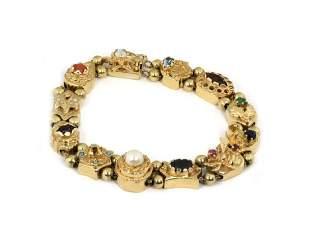 Vintage MultiColor 14k 12 Slide Charms Bracelet