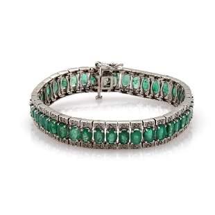 1887ct Emerald Diamond Wide Flex Bracelet