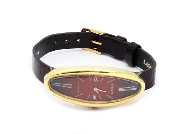 Tissot 18k Gold Oval Leather Band Ladies Watch