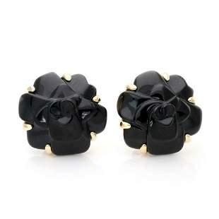 Chanel CAMELLIA Onyx 18k Gold Flower Post Earrings