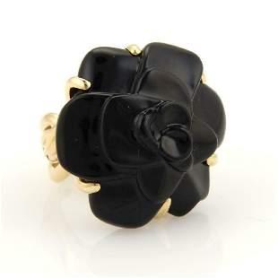 Chanel Camellia Carved Onyx Flower 18k Gold Ring