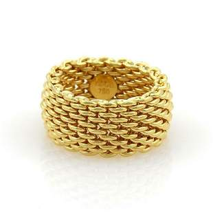 Tiffany Co Somerset 18k Gold Mesh Band Ring