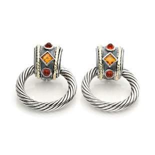 David Yurman Tourmaline Sterling 14k Gold Earrings
