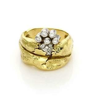 Siedengang Diamond 18k Gold Platinum Fancy Ring