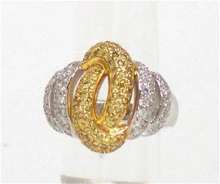 14k Gold 11ctw Yellow White Diamond Spiral Ring
