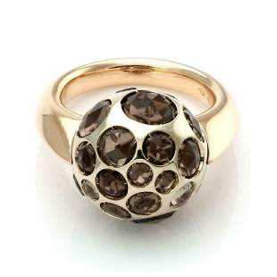 Pomellato Smoky Quartz 18k Gold Disco Ball Ring