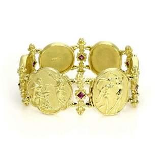 Seidengang Sapphire 18k Gold Frame Link Bracelet