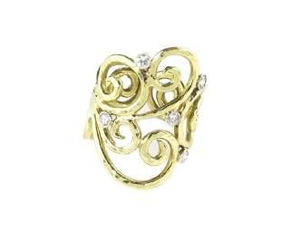 Desiner Sal Praschnik Diamond 18k Gold Ring