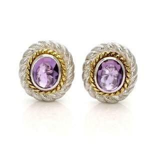 Judith Ripka Amethsyt Sterling Silver Earrings