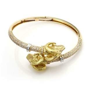 Sidra 337ct Diamond 18k Gold Rams Head Bracelet