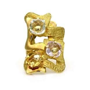 Estate Greek Gems 18k Gold Fancy Finger Ring