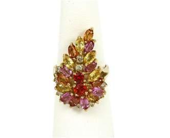 5.80ct Diamond Sapphire 14k Gold Cluster Ring