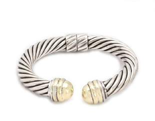 David Yurman Sterling 14k Gold Cable Cuff Bracelet