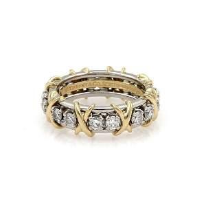 Tiffany & Co 16 Diamond Platinum 18k Gold X Ring