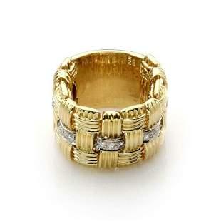 Roberto Coin Diamond 18k Two Tone Gold Flex Ring