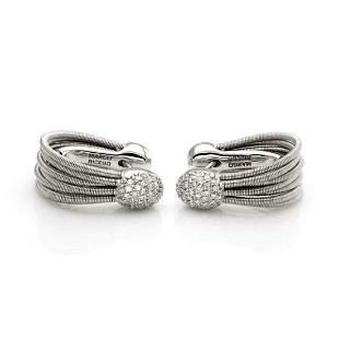 Marco Bicego Diamond 18k Gold Oval Hoop Earrings