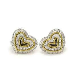 Harpo's 1ct Diamond 18k Gold Hearts Earrings