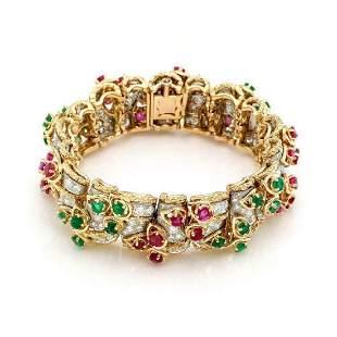 2150ct Diamond Ruby 18k Gold Floral Link Bracelet